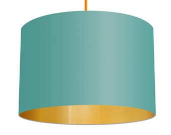Aqua Blue Linen Fabric Drum Lampshade With Mirrored Metallic Gold Effect Lining