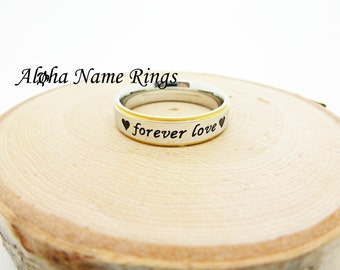 "Stainless Steel "" Forever Love""  With Hearts Stamped Ring (ANR-R-M5067)"
