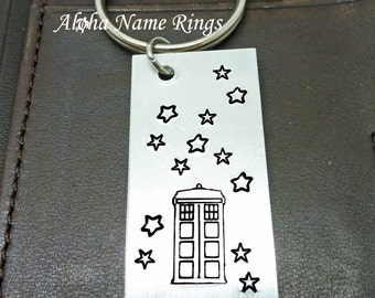 Tardis - A Whovian must have!! Custom Hand Stamped Aluminum Key Chain. Dr Who Geek Quote