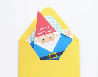 Printable DIY Origami Gnome Card w/ Envelope - Happy Birthday