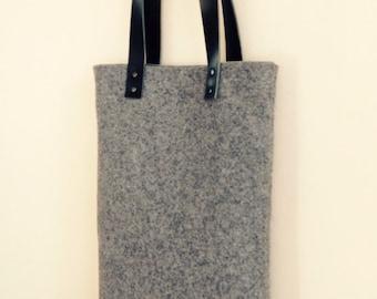 Handmade Men's or Women's Felt and Leather Tote bag, Shopper, Laptop Bag
