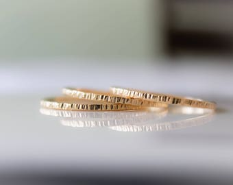 Gold Bark Ring, 14k Gold Filled Stack Ring, Coin Edge Ring, Gold Stacking Ring, Etsy Gifts, Boho Jewelry, Stackable Ring, Minimalist Ring