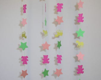 Hand made Thick Card Stock Paper Party Wedding Christmas Decoration Streamer Garland Pink Teddy Bear and Unicorn