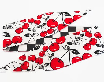 adult rockabilly cherries headband - pinup top knot hair dolly bow accessory rosie wrap fruit 1950's retro psychobilly punk rock