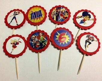 24 DC Superhero Girls Cupcake Toppers (birthday cupcake toppers)