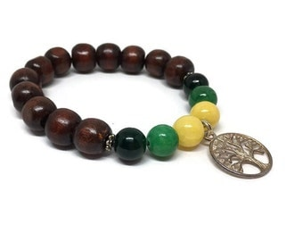 Wood beads bracelet with colorful quartzite and a tree of life charm