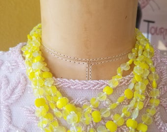 Vintage Cascading Lucite Choker Necklace, 5 Layer Necklace, Yellow Mellow Necklace, Statement Necklace, 1950's Bib Necklace