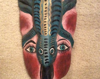 Mask, Vintage Mexican Mask, Reptile On top of Woman's Face, Hand Painted and Hand Carved Wood Mask