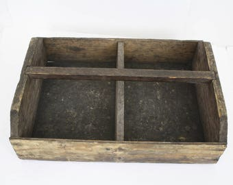 Primitive Garden Caddy / Tool Box with Handle / Rustic Wood Crate Planter