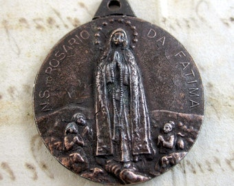 Antique Our Lady of Fatima Medal- Metal- Portugal