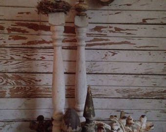 Pair of 2 antique turned wood spindles,vintage stair balusters,weathered white original patina,architectural salvage,restoration parts