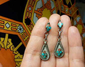 Zuni Snake Eye Turquoise and Coral Sterling Silver Vintage Earrings