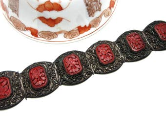 Antique Chinese cinnabar and filigree bracelet