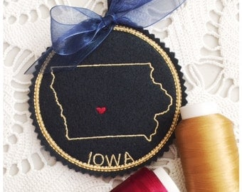 I Heart Iowa Coaster and Ornament Machine Embroidery Design Instant Download I Love Iowa with Positionable Heart