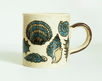 Vintage Takahashi Seashell Mug, Cobalt Blue Ocean Sea Shell Print Coffee Cup, Made in Japan
