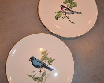 Set of Two Vintage Mid Century Modern Bird Dinner Plates with gold rim
