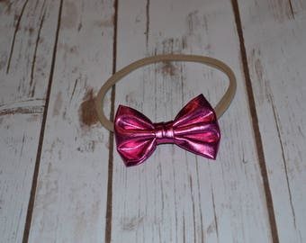 Leather Satin Bow headband