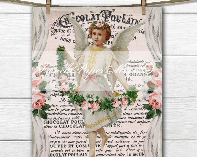 Shabby Chic Digital Victorian Angel with Roses, French Wallpaper, French Angel Fabric Transfer Graphic, Instant Download