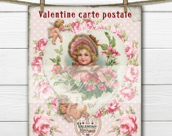 Shabby Chic Vintage Digital Valentine, Girl, Heart, Roses, French digital postcard, Valentine Transfer Graphic Download