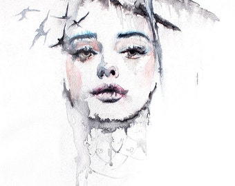 Original Watercolor Painting. Portrait painting of a beautiful  young girl. Come and See Me . Flying birds. To fall apart on birds