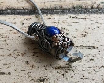 Protective & Inner Peace - Lapis Lazuli, Clear Quartz, Pyrite Amulet Necklace