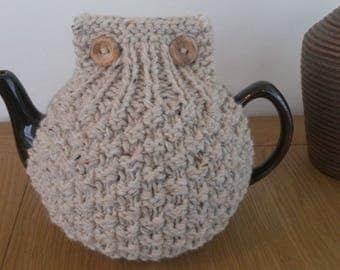 Oatmeal hand knitted tea cosy with wooden button detail - Size LARGE to fit 10 cup teapot (1.7 Litre) - READY to SHIP