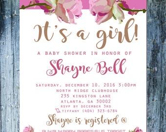 Rose Baby Shower Invite - Printable 5X7 Customized Baby Shower Invitation - DIY - Floral Pattern - Fancy Invite - Evite