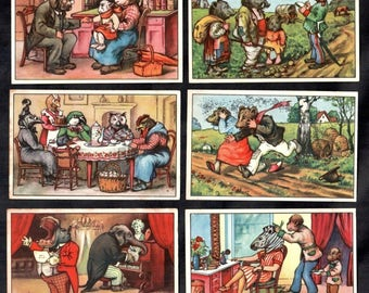 German Vintage Victorian Trade cards  issued 1900's complete set of six cards Fairy tale stories Animal dressed as human