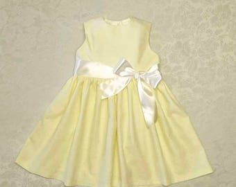 Girl Baby Toddler Simple Yellow Lemon Dress with White Satin ribbon sizes 3 months to 6 years