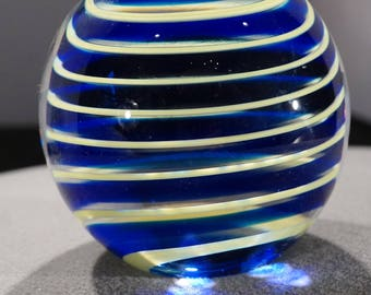 Vintage Paper Weight Artist Signed Vandermark  Hand Blown Art Glass Swirl Coiled Spiraled Layering Yellow Cobalt Blue Polished Collectable