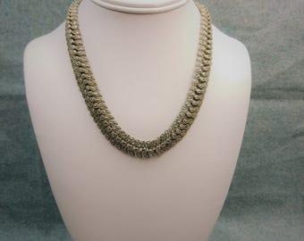 Regal Sterling & Sparkling Marcasite Edwardian Leaf Collar Necklace