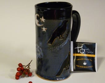 CROW MUG, FOUR Blackbirds, Raven Mug, , Blue Mug with Crows, Gothic mUG