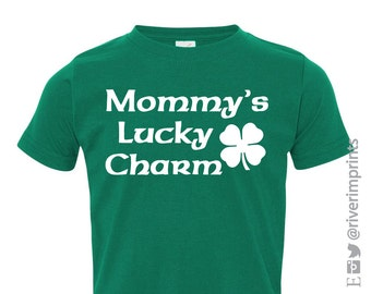 Toddler MOMMY'S LUCKY CHARM, toddler boy or girl St Patricks Day tshirt