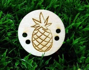 pineapple button, wood button