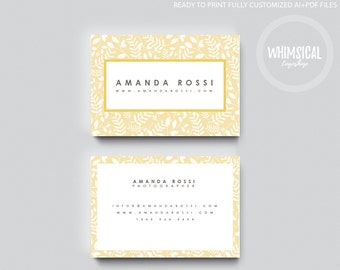 Nature Template 1 Card Design, Creative Business Card Template, elegant and floral Name Card, Contact Card, Whismical lines, flower pattern