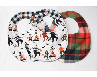 Trick or Treat Bibs with a Little Thanksgiving Plaid