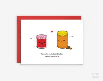 Cute Peanut Butter and Jelly Love Card , Valentine's Day Card, Anniversary Card, I Love You Day Card