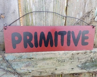 """DISCOUNTED PRICING Vintage used country Home PRIMITIVE decor sign Black Red colored paint 3-1/4x11-1/2"""" ready to hang Unique Wood Item"""