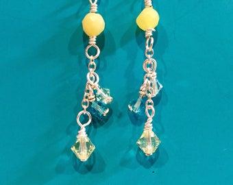 Yellow Serpentine Swarovski Earrings