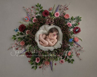 Newborn Digital Backdrop - Heather Flower Nest