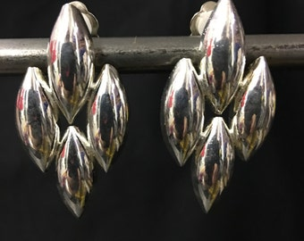 Vintage silver plated clip on earrings