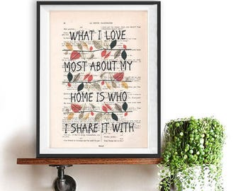What I love, share it, quote poster print, Typography Posters, Home decor, positive words, inspirational vintage book page life beautiful