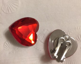 Red Heart Gem Play Clip Earrings for your Lil Princess.