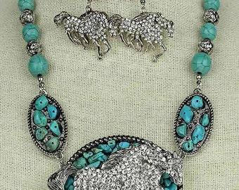 turquoise western rhinestone horses necklace & earrings