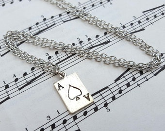 Playing card necklace, Ace of Spades charm, silver card pendant on chain