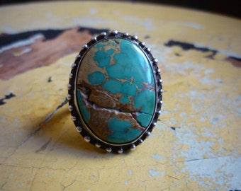 Magnificent Vintage Large Navajo Native American Sterling Silver Manassa Green Turquoise Ring Size 7