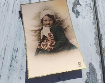 French Vintage Postcard . Vintage French Postcard . Girl Postcard . Children's Postcard . Young Girl . Vintage Postcard . Old Postcard .