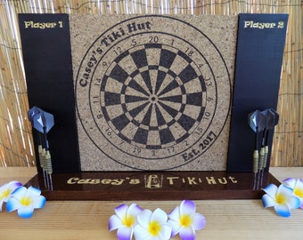 Personalized Engraved Dart Board w/ Chalkboard sides and Dart Holding base. A man cave must have!
