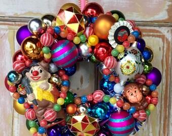 CLEARANCE Vintage ornaments; Circus ornament wreath; Festive carnival color wreath; Clown wreath; Ornament wreath; Vintage ornament wreath