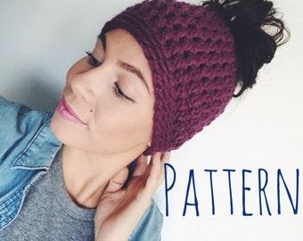Bun Hat Crochet Pattern Bun Beanie Pattern Messy Bun Hat Messy Bun Beanie Pattern - The Mamido - PDF - Adult Size